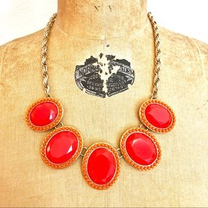 Jewelry - Orange And Gold Tone Statement Necklace